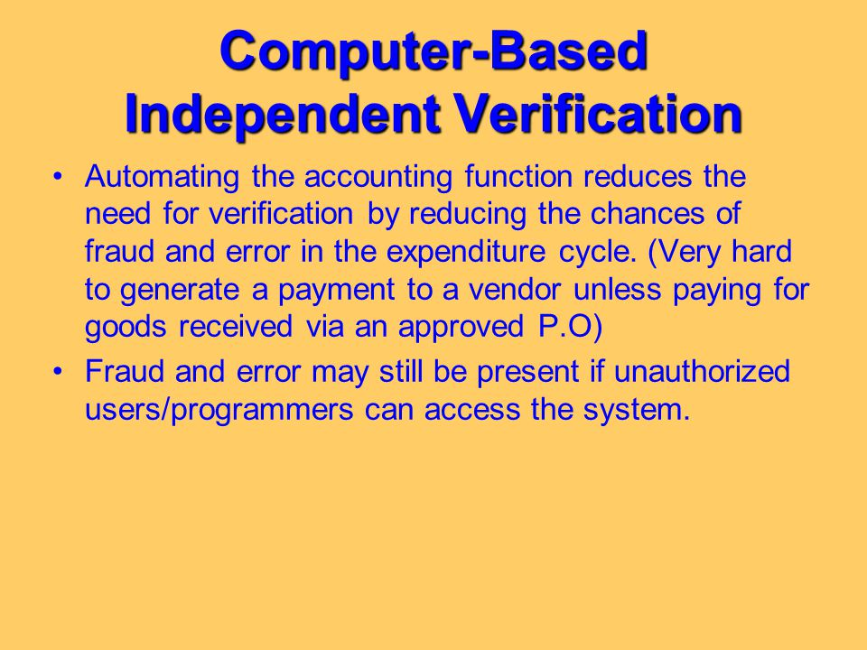 Computer-Based Independent Verification