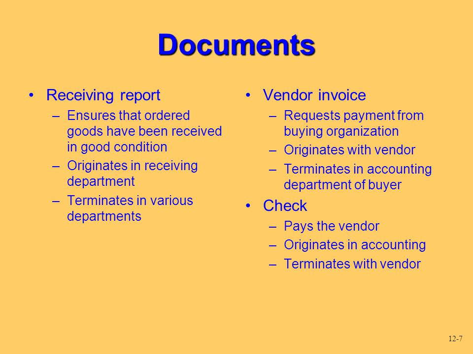 Documents Receiving report Vendor invoice Check