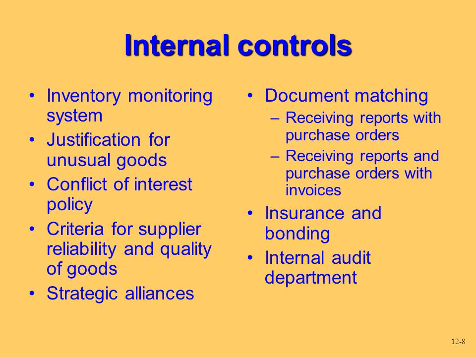 justification for internal controls Justification for an internal control system frank harling acc/544 april 2, 2012 christian yang justification for an internal control system working as the controller for this company i am.