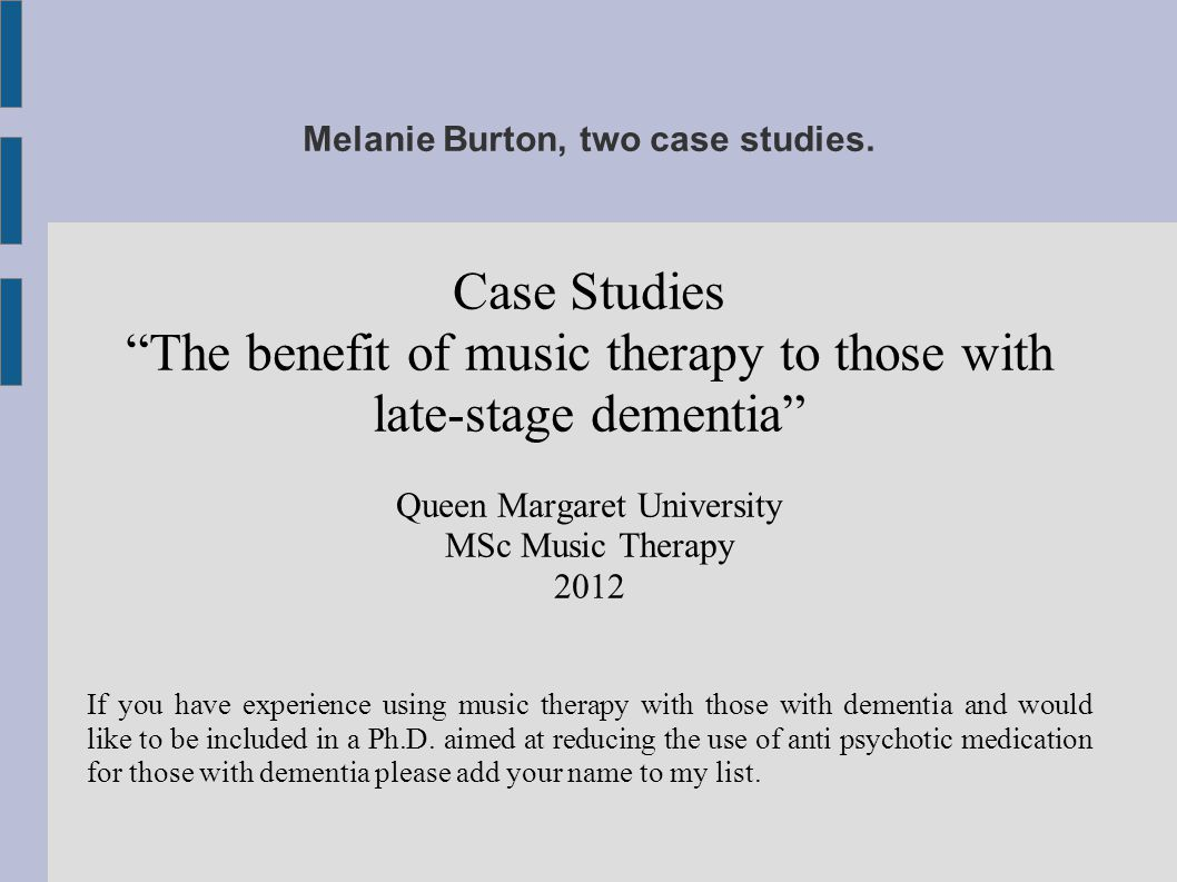 Melanie Burton, two case studies.