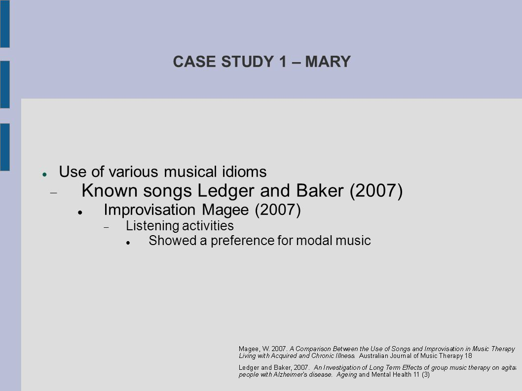 Known songs Ledger and Baker (2007)