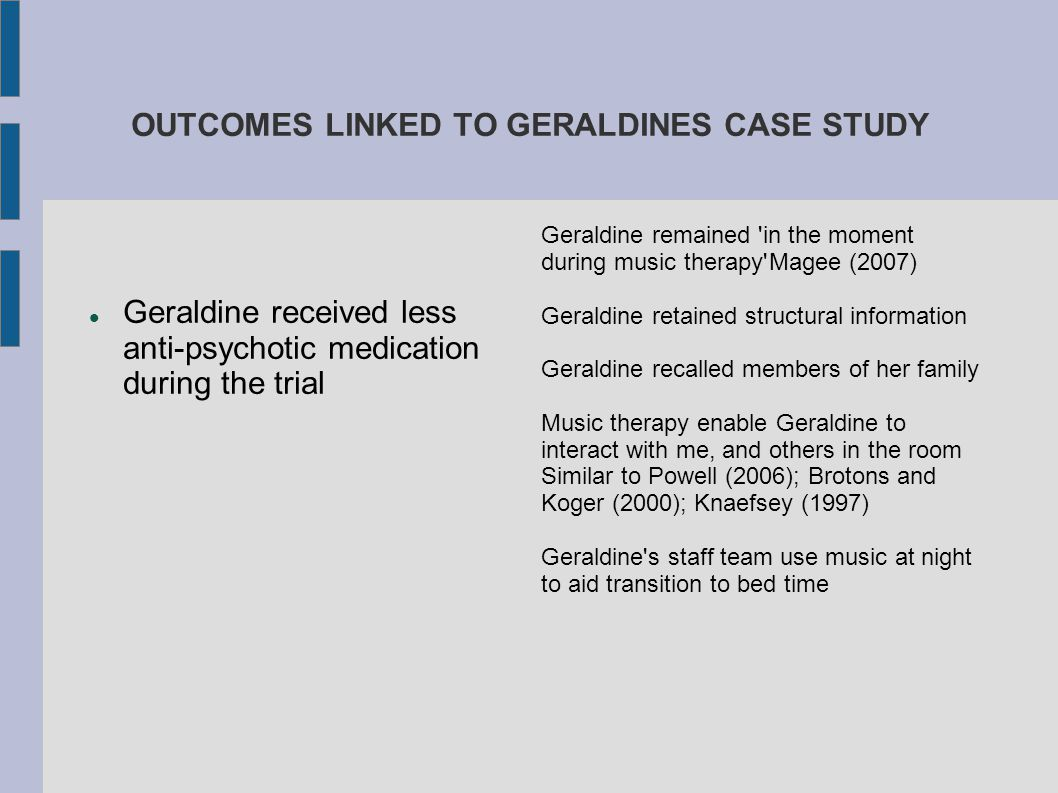 OUTCOMES LINKED TO GERALDINES CASE STUDY