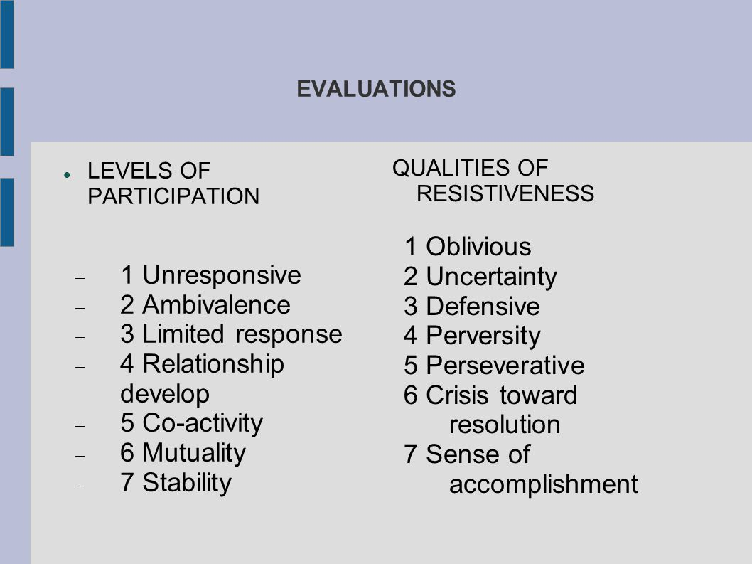 6 Crisis toward resolution 7 Sense of accomplishment