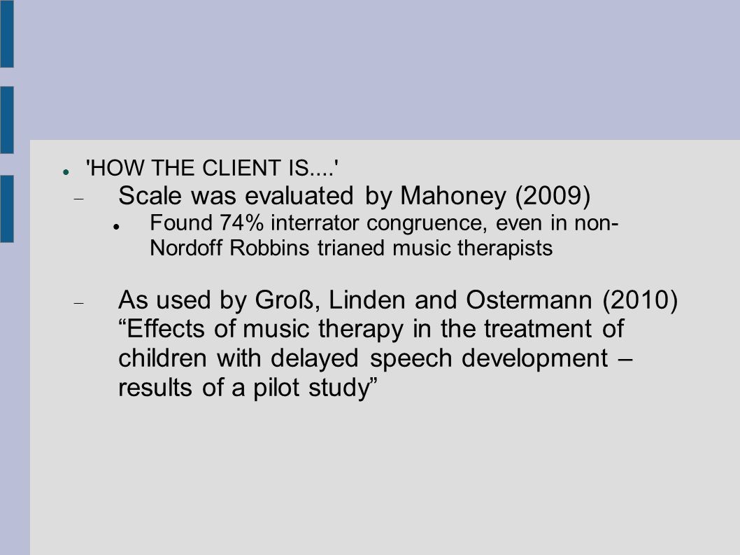 Scale was evaluated by Mahoney (2009)