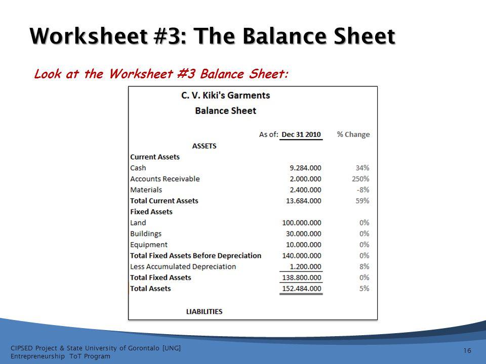 Worksheet #3: The Balance Sheet