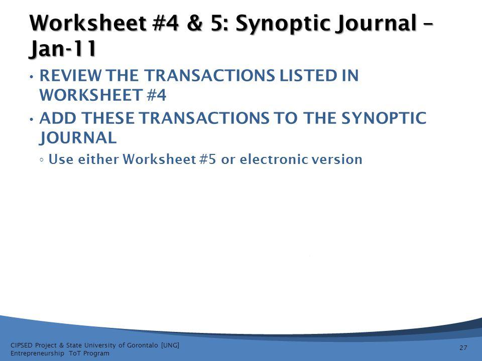 Worksheet #4 & 5: Synoptic Journal – Jan-11