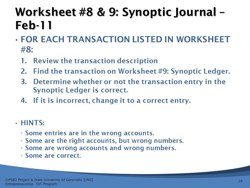 Worksheet #8 & 9: Synoptic Journal – Feb-11