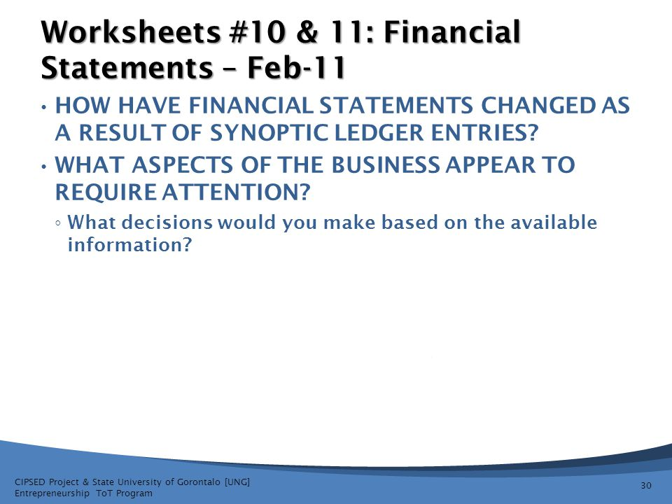 Worksheets #10 & 11: Financial Statements – Feb-11