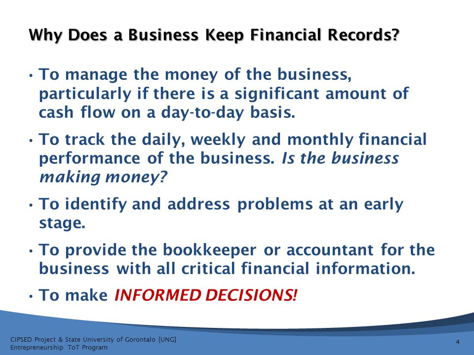 Why Does a Business Keep Financial Records