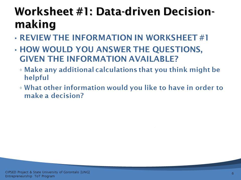 Worksheet #1: Data-driven Decision-making