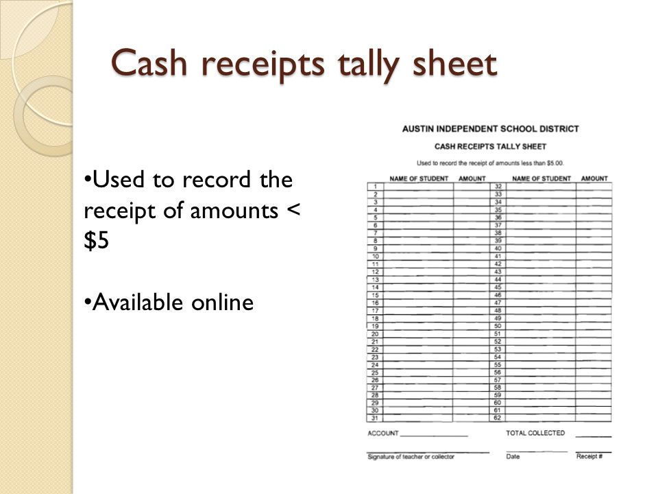Cash receipts tally sheet