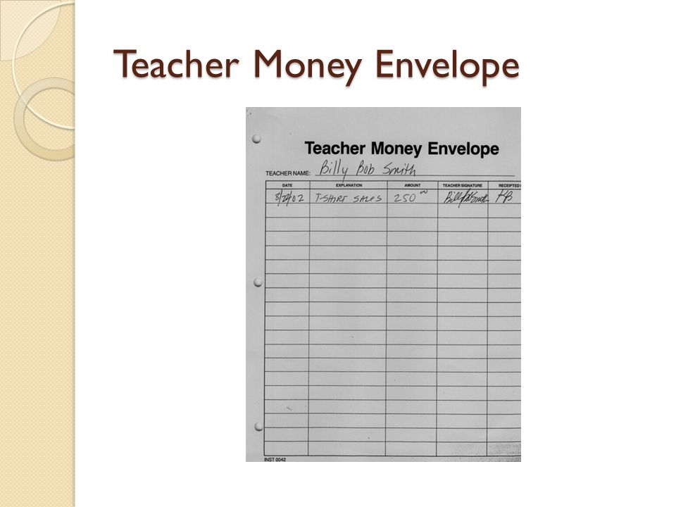Teacher Money Envelope