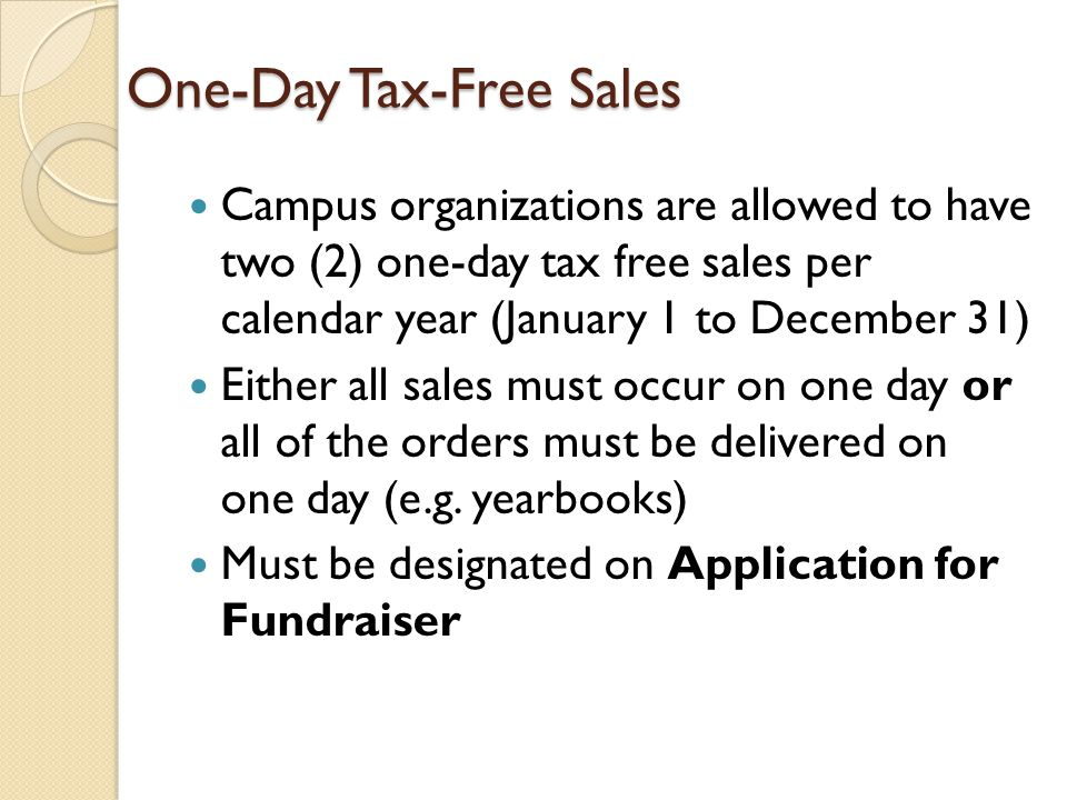One-Day Tax-Free Sales
