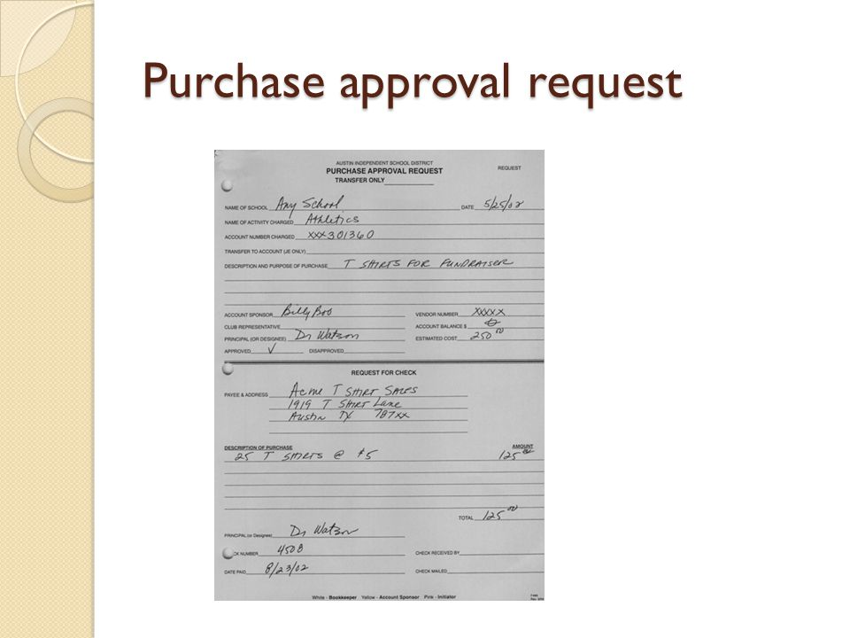 Purchase approval request