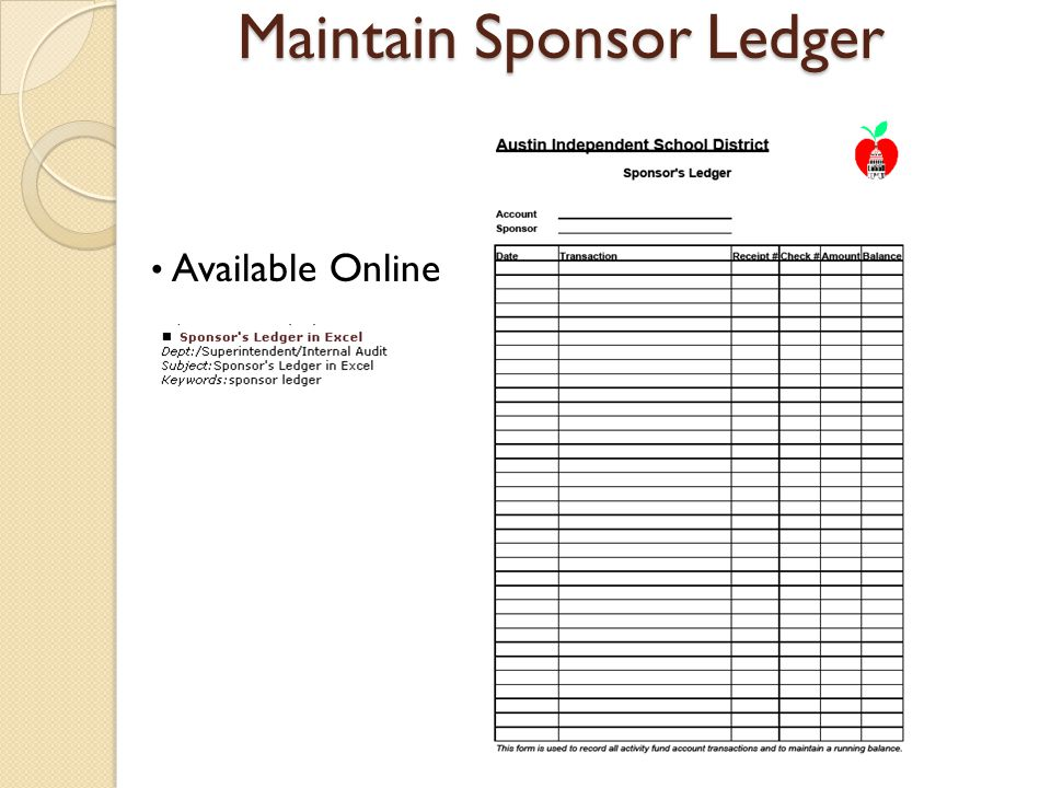 Maintain Sponsor Ledger