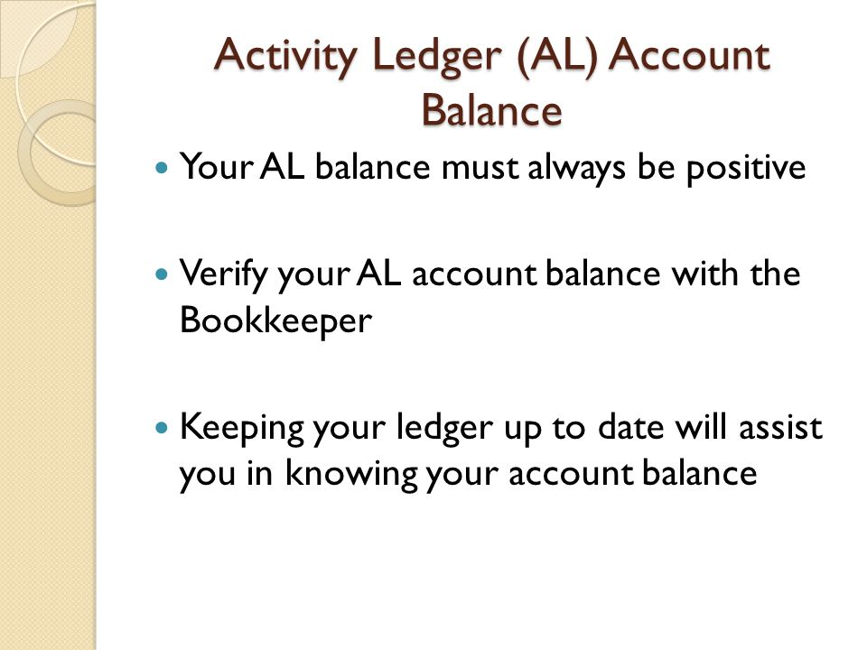 Activity Ledger (AL) Account Balance