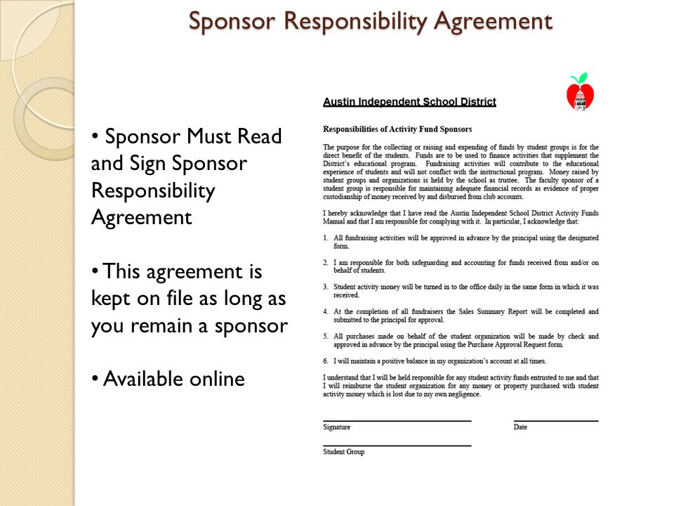 Sponsor Responsibility Agreement