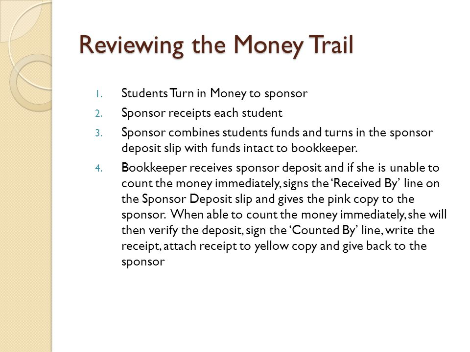 Reviewing the Money Trail