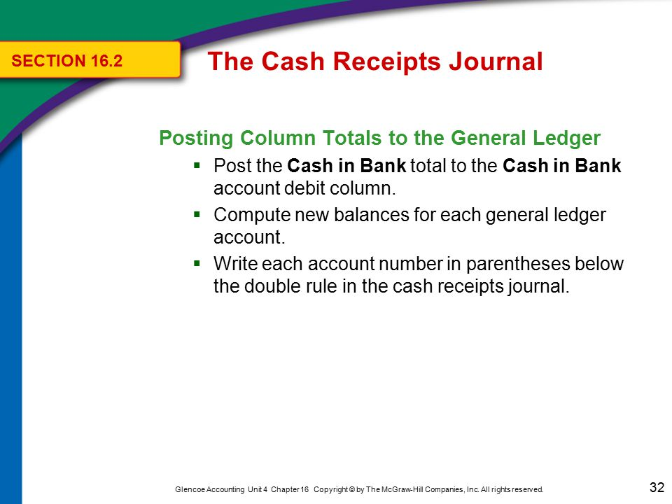The Cash Receipts Journal