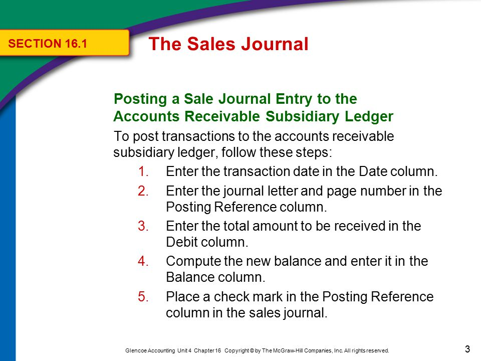 The Sales Journal SECTION 16.1. Posting a Sale Journal Entry to the Accounts Receivable Subsidiary Ledger.