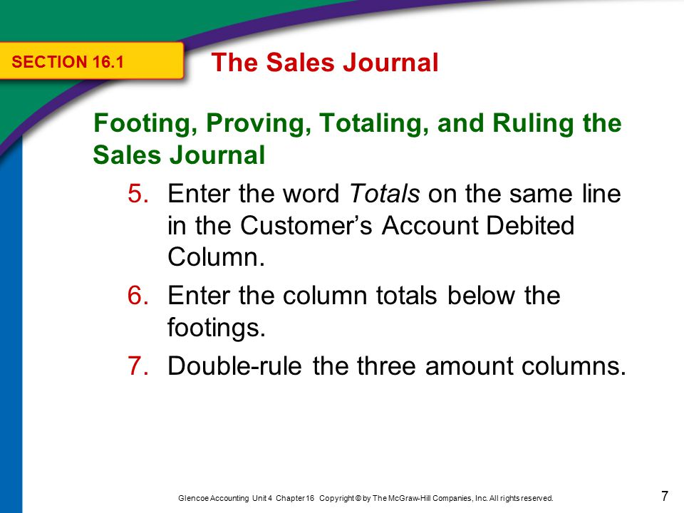 Footing, Proving, Totaling, and Ruling the Sales Journal