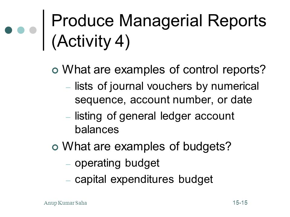 Produce Managerial Reports (Activity 4)