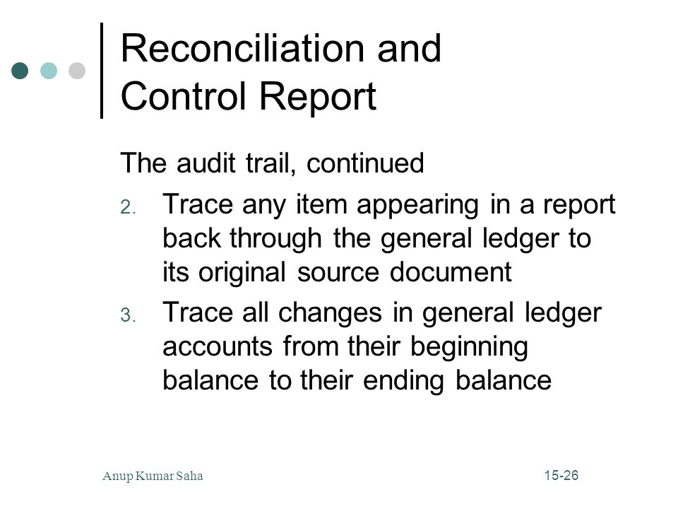 Reconciliation and Control Report