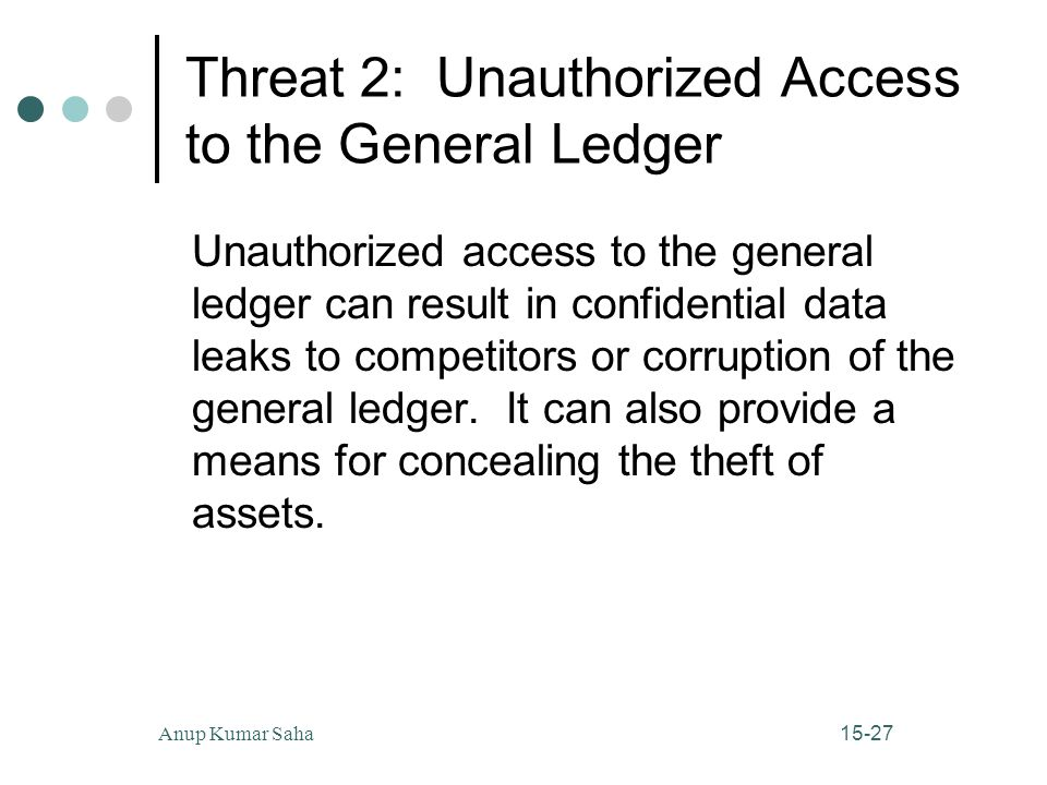 Threat 2: Unauthorized Access to the General Ledger