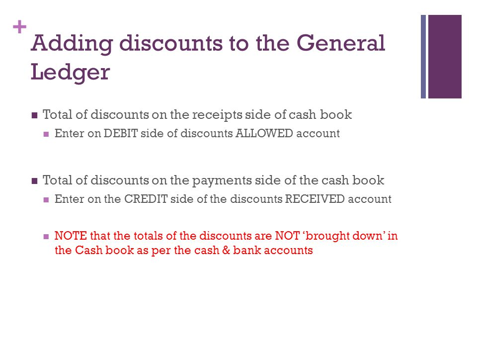 Adding discounts to the General Ledger