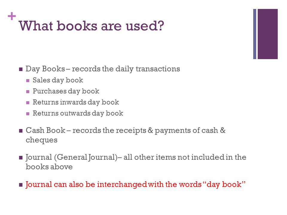 What books are used Day Books – records the daily transactions