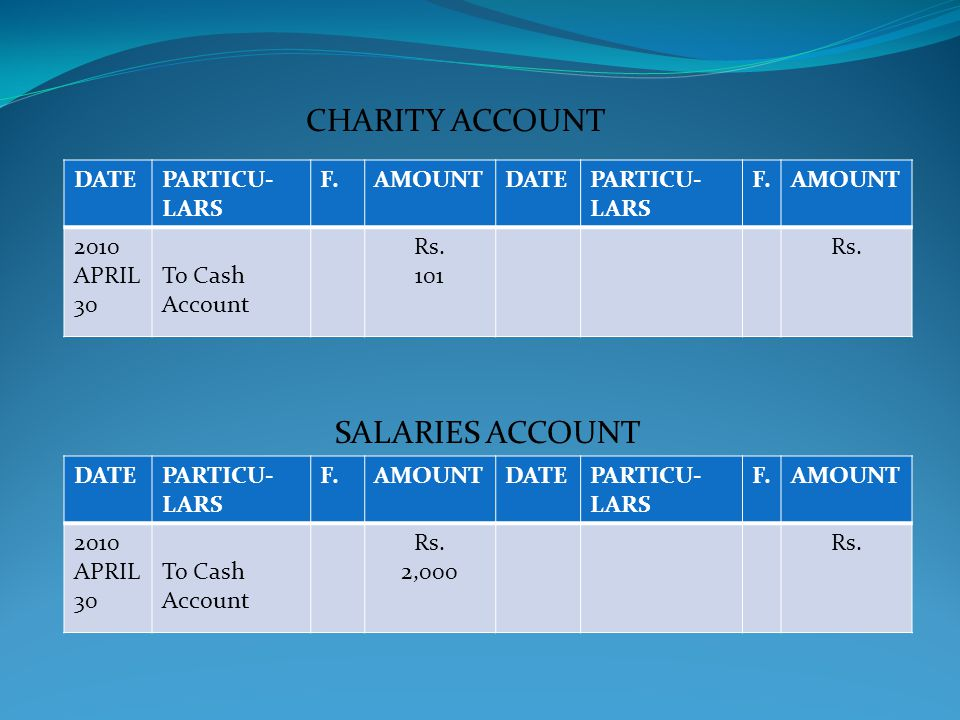 CHARITY ACCOUNT SALARIES ACCOUNT DATE PARTICU-LARS F. AMOUNT 2010