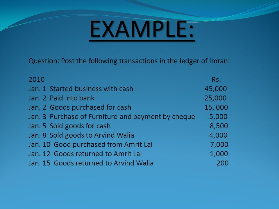 EXAMPLE: Question: Post the following transactions in the ledger of Imran: