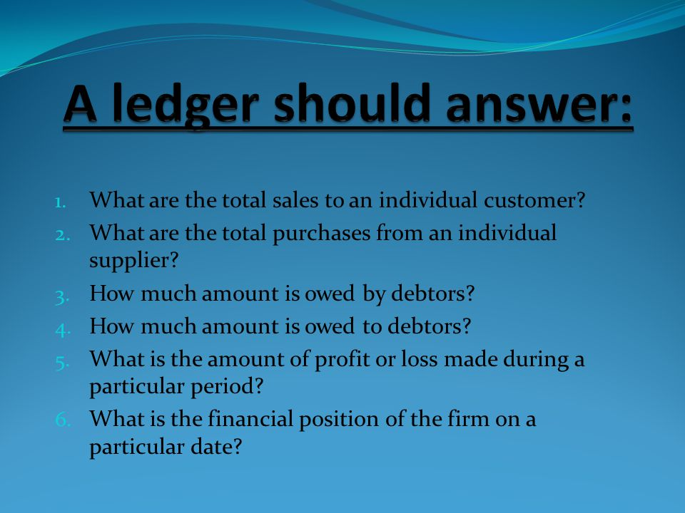 A ledger should answer: