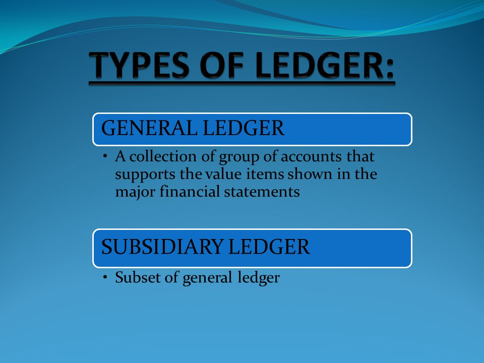 TYPES OF LEDGER: GENERAL LEDGER SUBSIDIARY LEDGER