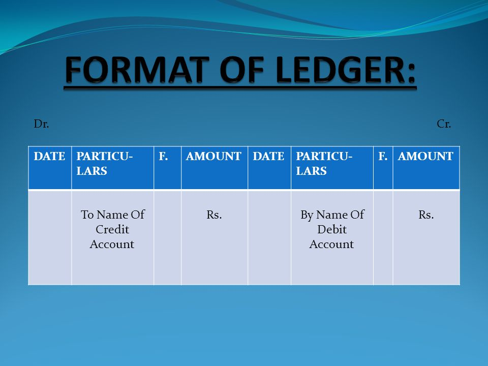 FORMAT OF LEDGER: Dr. Cr. DATE PARTICU-LARS F. AMOUNT