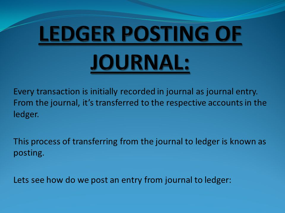 LEDGER POSTING OF JOURNAL: