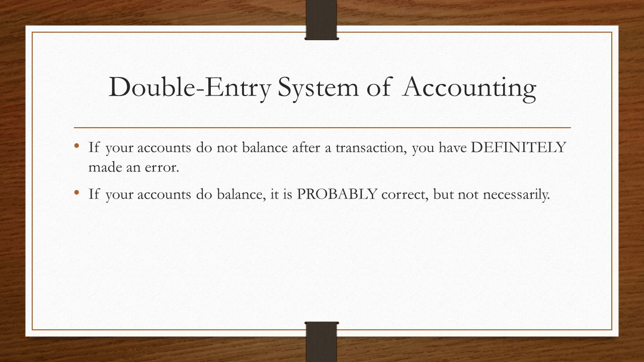 Double-Entry System of Accounting