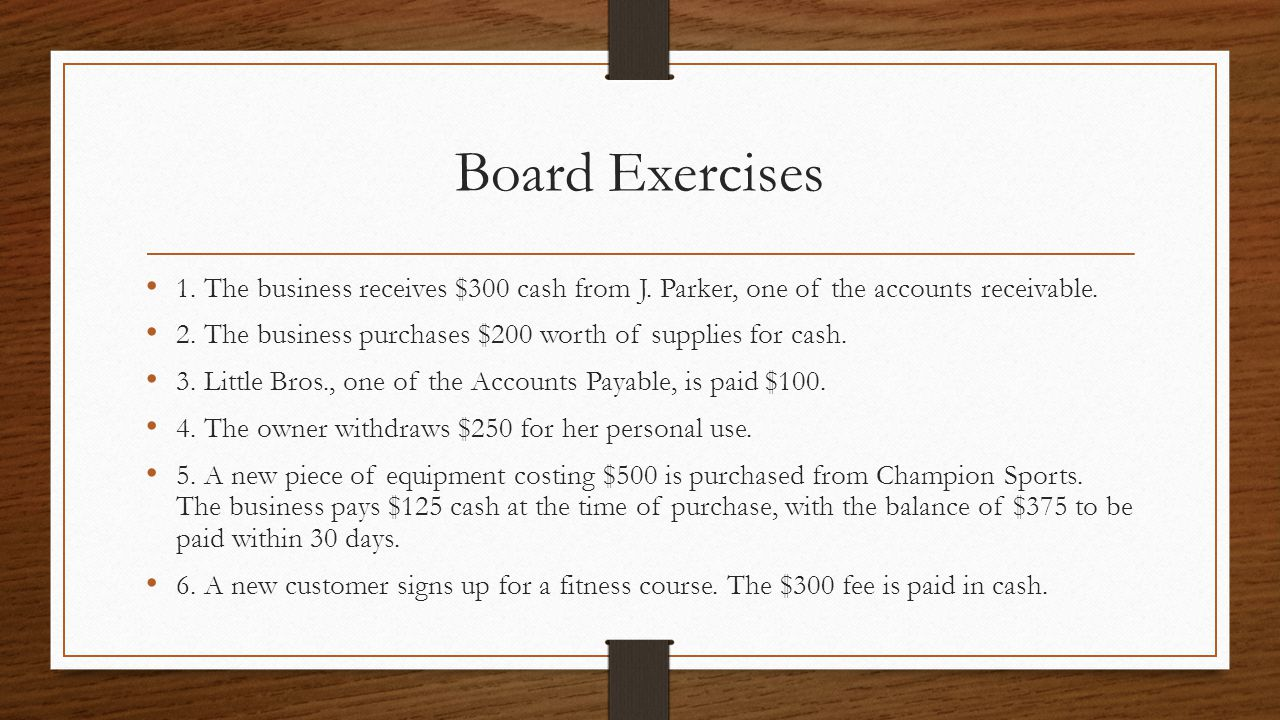 Board Exercises 1. The business receives $300 cash from J. Parker, one of the accounts receivable.