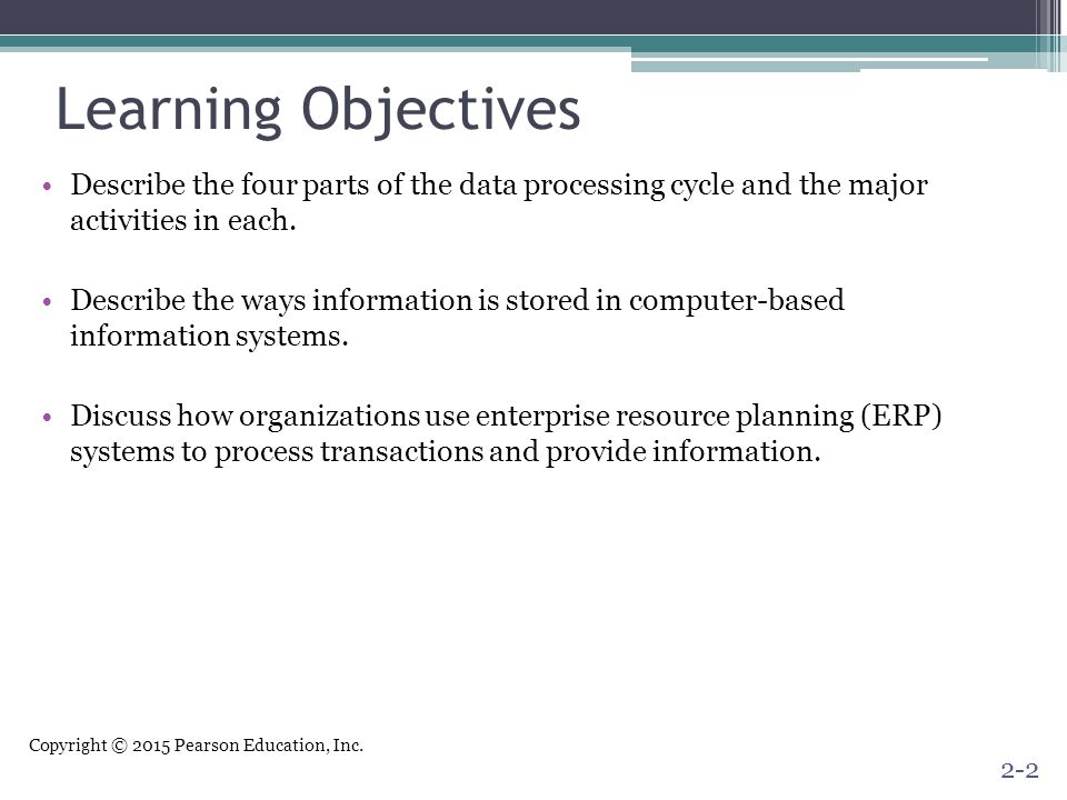 Learning Objectives Describe the four parts of the data processing cycle and the major activities in each.