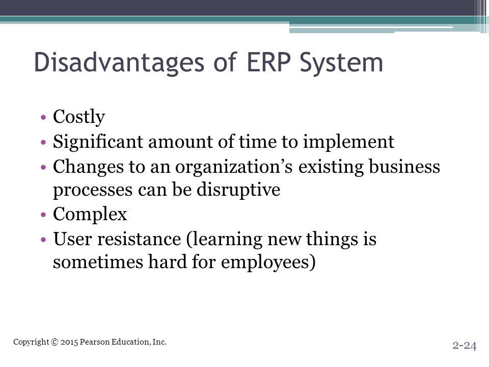 Disadvantages of ERP System