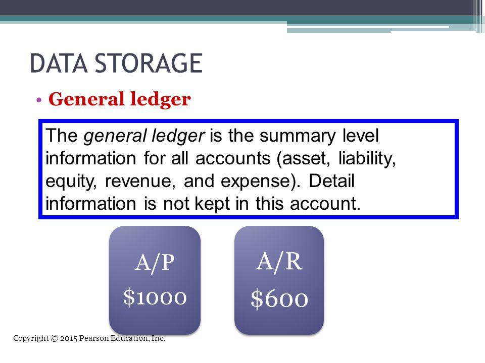 DATA STORAGE A/R $600 A/P $1000 General ledger