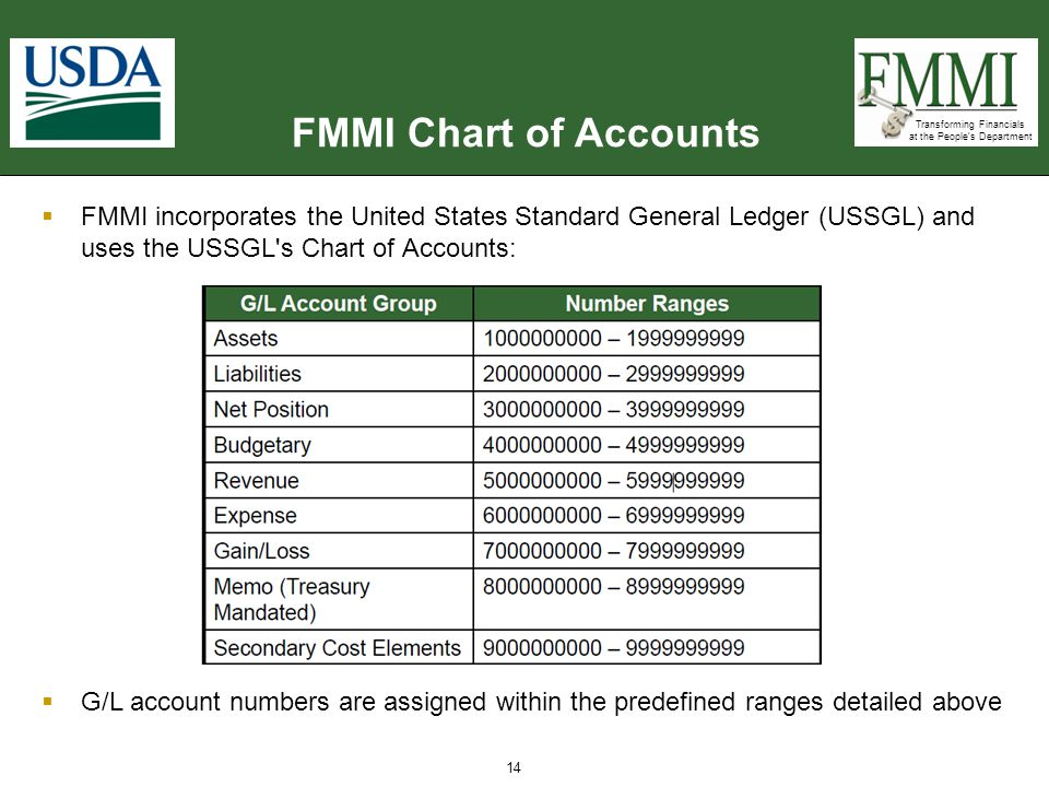 FMMI Chart of Accounts FMMI incorporates the United States Standard General Ledger (USSGL) and uses the USSGL s Chart of Accounts: