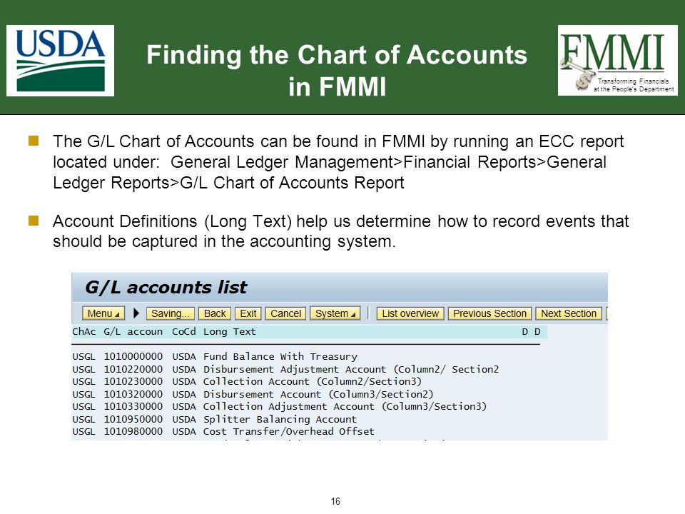Finding the Chart of Accounts in FMMI