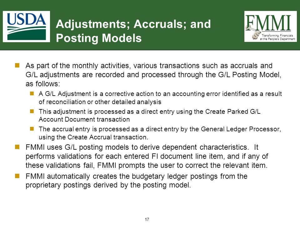 Adjustments; Accruals; and Posting Models