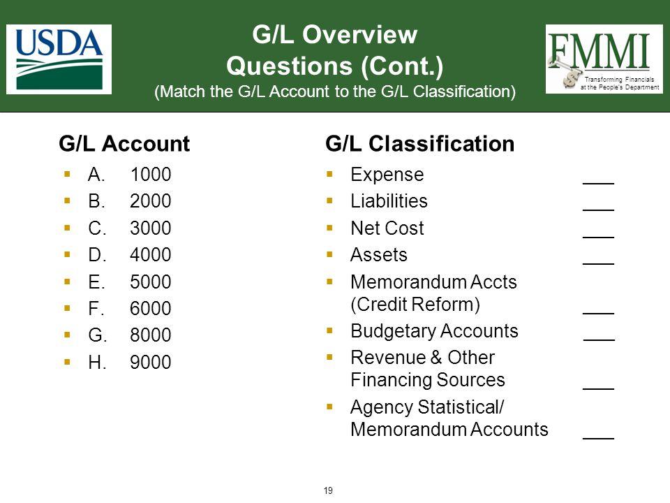 G/L Overview Questions (Cont