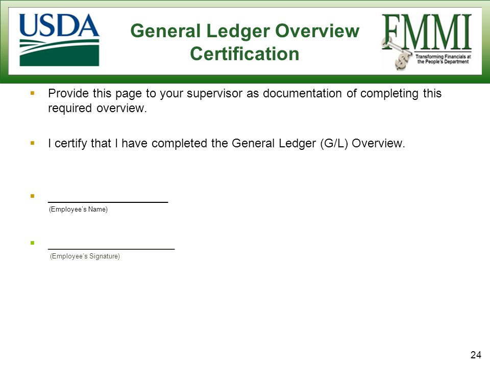 General Ledger Overview Certification