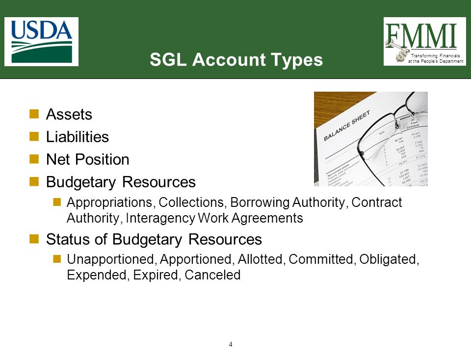 SGL Account Types Assets Liabilities Net Position Budgetary Resources