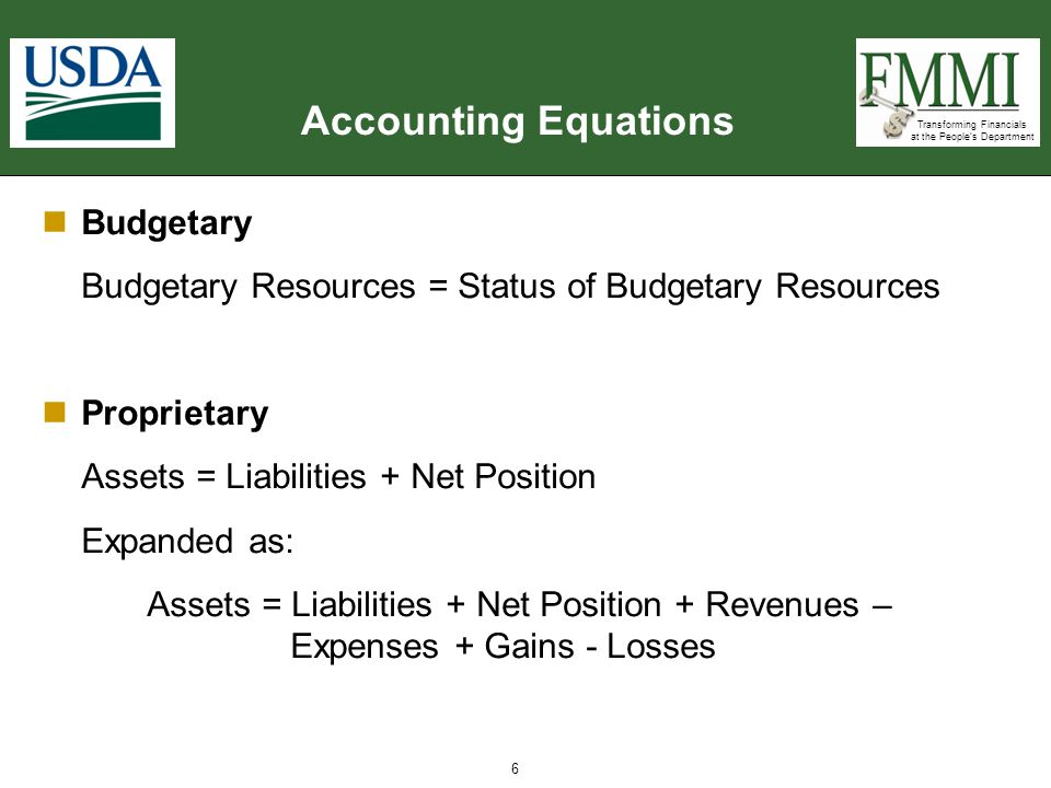 Accounting Equations Budgetary
