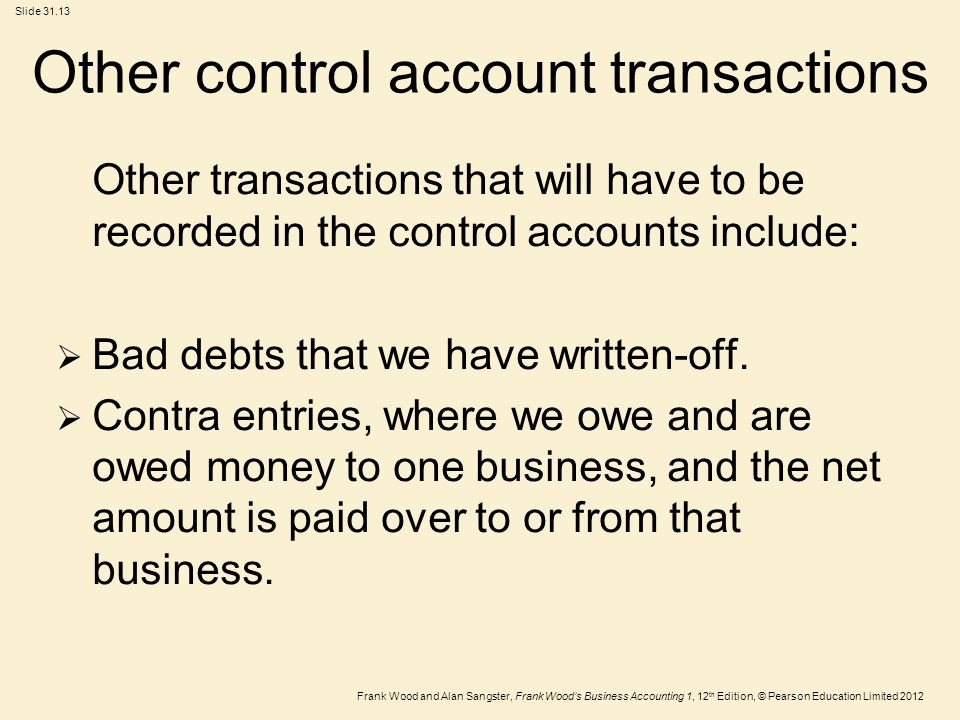 Other control account transactions