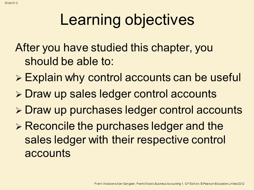 Learning objectives After you have studied this chapter, you should be able to: Explain why control accounts can be useful.